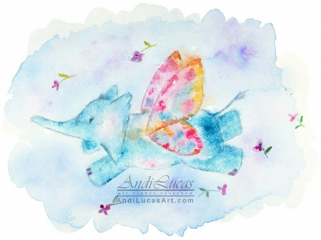 Elephant Watercolour Print Fine Art Butterfly Children's Animal Wall Art