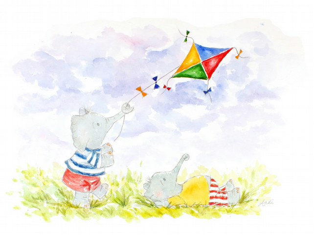 Elephant Watercolour Print Fine Art Flying Kites Children's Animal Wall Art