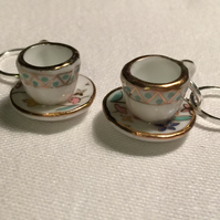 A Pair of Floral China Cup & Saucer Stitch Markers for Knitting