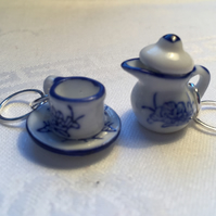 A Pair of Blue and White Teapot and Teacup Stitch Markers for Knitting