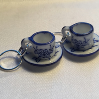 A Pair of Blue & White China Teacup Stitch Markers for Knitting