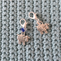 A Pair of Beaded Sheep Silver Plated Stitch or Place Markers