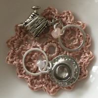 A Pair of Tibetan Silver Beaded Tea cup and Knitting Stitch Markers on Rings