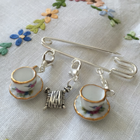 A Silver Plated Shawl Pin with Detachable Ceramic Tea Cup Stitch Markers