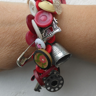 Chatelaine Sewing Themed Bracelet, Buttons and Charms with Vintage Items