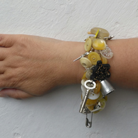 Sewing Themed Chatelaine bracelet in yellow, buttons and charms