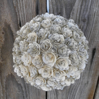 Handmade Book Paper Rose Kissing Ball Pomander