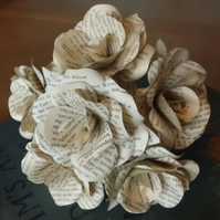 12 Handmade Book Paper Flower Roses  - Weddings, Gifts, Home Decor