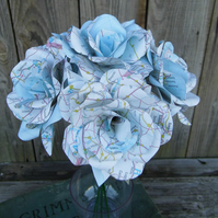 6 Handmade Map Paper Flower Roses  - Weddings, Gifts, Home Decor