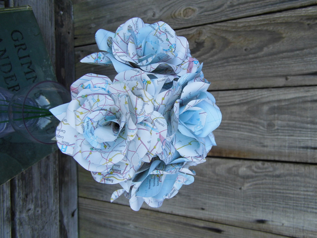 3 Handmade Map Paper Flower Roses  - Weddings, Gifts, Home Decor
