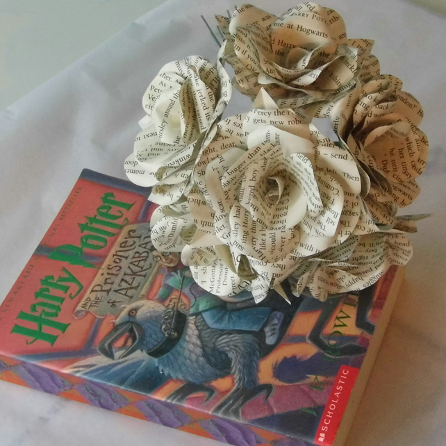 6 x Harry Potter Book Page Paper Flowers Roses