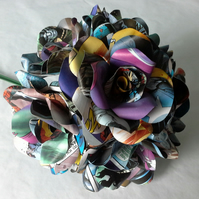 6 x Comic Book Paper Flower Roses - Marvel or DC Comic Books