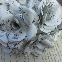 12 Handmade Music Paper Flower Roses  - Weddings, Gifts, Home Decor
