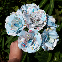 12 Handmade Map Flower Roses  - Weddings, Gifts, Home Decor