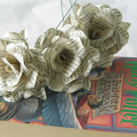 3 x Harry Potter Book Page Paper Flowers Roses