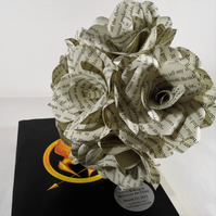 6 x Hunger Games Paper Flower Roses - Handmade paper flowers - Suzanne Collins