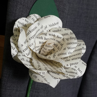 3 x Harry Potter Book Paper Flower Rose Buttonhole - Buttoniere - Themed Wedding