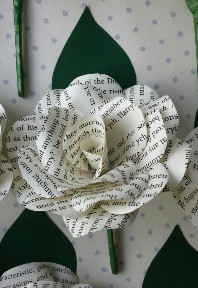 12 x Harry Potter Book Paper Flower Rose Buttonhole, Buttoniere - Themed Wedding