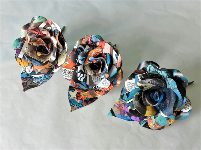 3 x Comic Book Paper Flower Rose Buttonhole - Buttoniere - Marvel,DC Comic Books