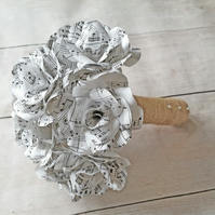 12 Rose Sheet Music Paper Flower Bridal Bouquet, Paper Roses, Wedding Flowers