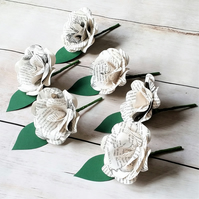 12 x Alice in Wonderland Paper Flower Buttonhole, Boutonniere - Themed Wedding