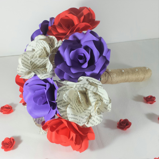 Mixed Colour Paper Flower Bridal Bouquet Roses Wedding Flowers
