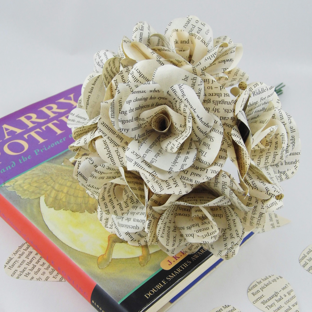 6 X Harry Potter Book Page Paper Flowers Roses Folksy