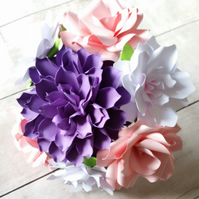 Mixed Paper Flower Bouquet - Dahlia - Roses - Gardenia