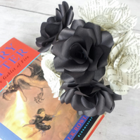 6 x Harry Potter Book Paper Roses - Black Paper Flowers