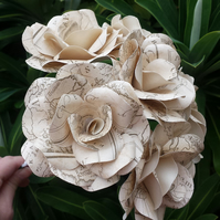 6 Vintage Map Style Paper Flower Roses  - Weddings, Gifts, Home Decor