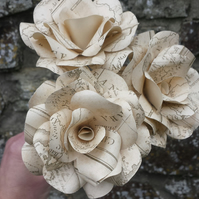 3 Vintage Map Style Paper Flower Roses  - Weddings, Gifts, Home Decor