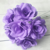 6 x Purple Paper Flowers Roses