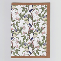 Bird Spotting Greetings Card with Repeat Bird Pattern