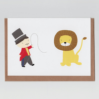Lion Tamer, Greetings Card with Circus Design