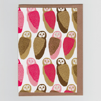 Owls, Patterned Greetings Card
