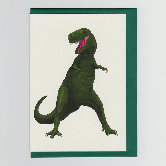 T Rex, Dinosaur, Greetings Card