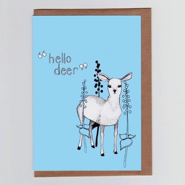 Hello Deer, Illustrated Greetings Card
