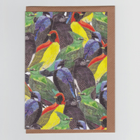 Bird Birds Birds, Patterned Greetings Card with Tropical Birds