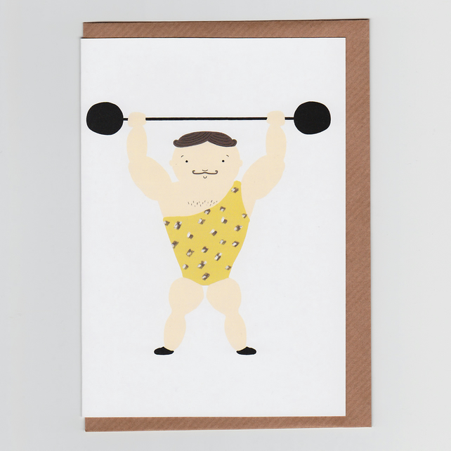 Strongman, Illustrated Greetings Card with Circus Design