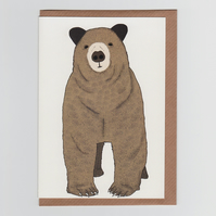 Toby Greetings Card - an illustrated brown bear