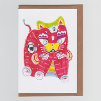 Red Tiger King, Greetings Card featuring Lucky Red Chinese Tiger King