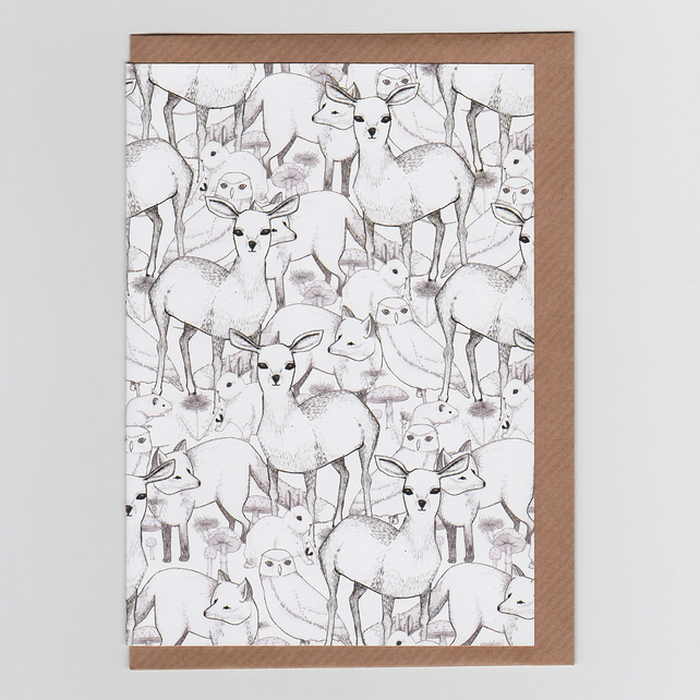 Woodland, Greetings Card with Illustrated Pattern Featuring Deers, Owls, Rabbits