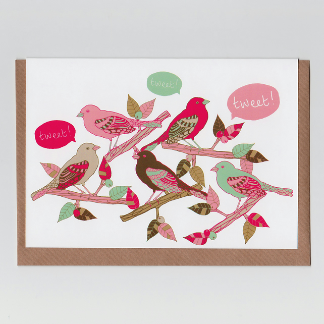 Tweet, Greetings Card with Kawaii Bird Illustration
