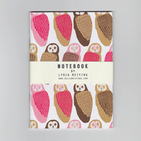 A6 Mini Notebook - Owls