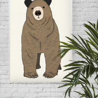 Toby, A3 Giclee Print featuring cute brown bear
