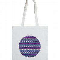 Aztec Circle Cotton Tote Bag with Fair Isle Pattern