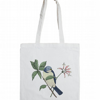 Bird Spotting Cotton Tote Bag with Bird Illustration