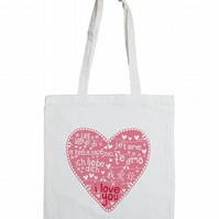 Te Amo Cotton Tote Bag with Paper-Cut Style Pink Heart
