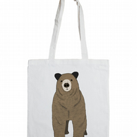 Toby Cotton Tote Bag with Illustrated Brown Bear