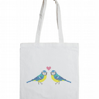 Love Birds Cotton Tote Bag